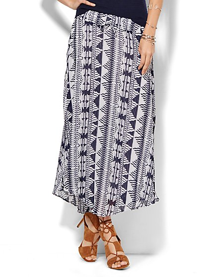 Pleated-Chiffon Maxi Skirt - Print  - New York & Company