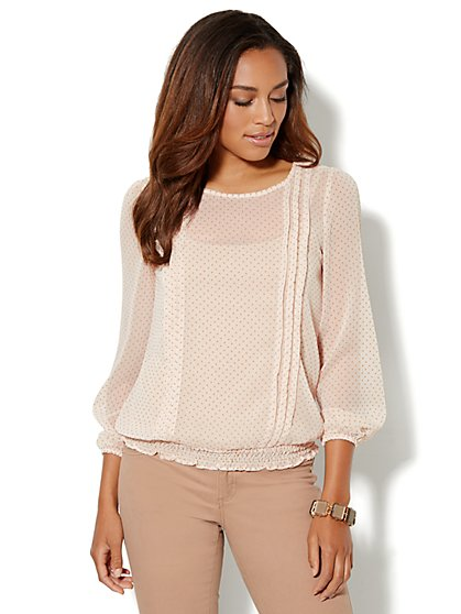 Pleated Clip-Dot Blouse - New York & Company
