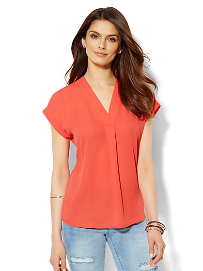 Pleated Dolman-Sleeve Blouse  - New York & Company