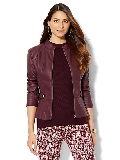 Pleated Faux-Leather Peplum Jacket - Burgundy  - New York & Company