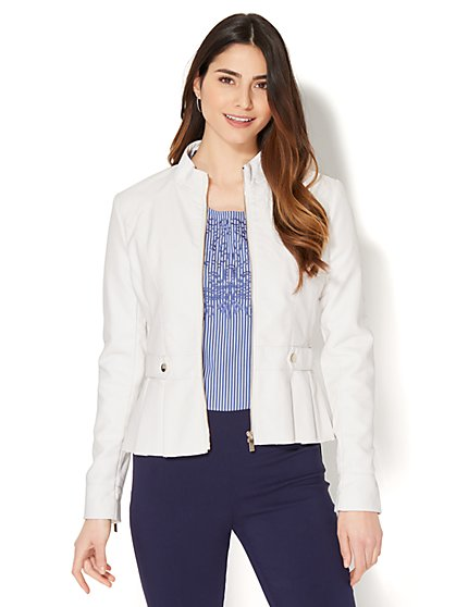 Pleated Faux-Leather Peplum Jacket - New York & Company