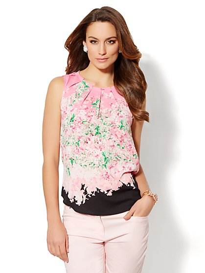 Pleated Floral Shell  - New York & Company
