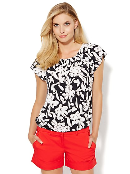 Pleated Flutter-Sleeve Top - Floral  - New York & Company