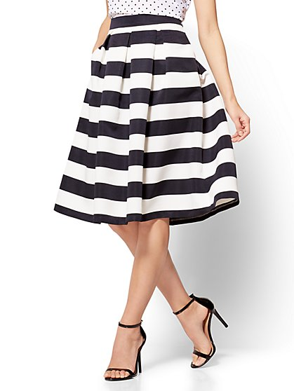 Pleated Full Skirt - Stripe - New York & Company