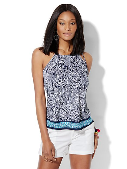 Pleated Halter Blouse - Print  - New York & Company