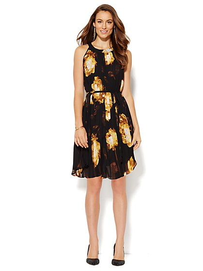 Pleated Halter Dress - Floral - New York & Company
