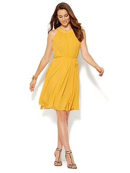 Pleated Halter Dress - New York & Company