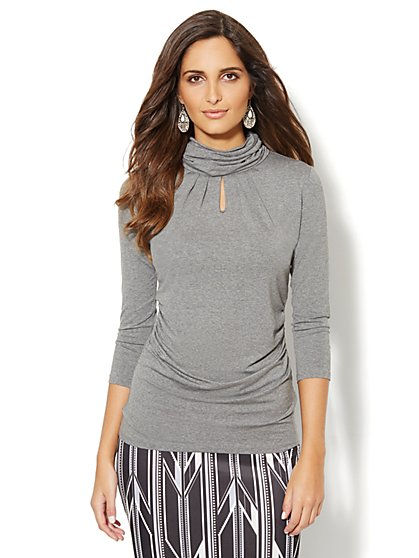 Pleated Keyhole-Accent Turtleneck  - New York & Company