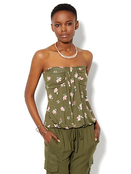 Pleated Knit Tube Top - Floral - New York & Company
