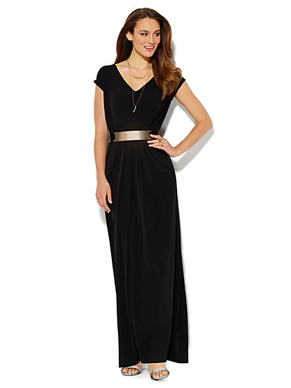 Pleated Maxi Dress - Metal-Hardware Belt - Solid  - New York & Company