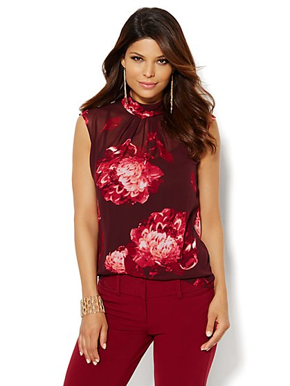 Pleated Mock Neck Blouse - Floral  - New York & Company