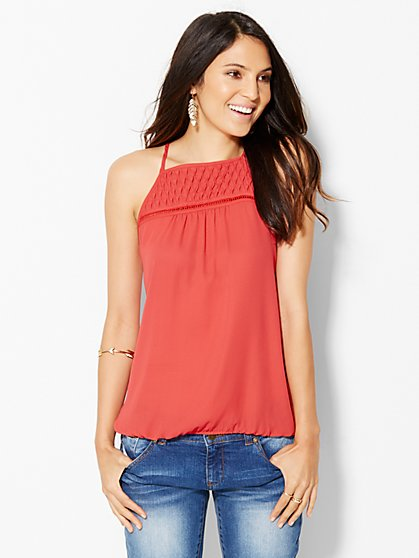Pleated & Open-Stitch Halter Blouse  - New York & Company