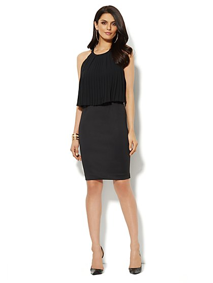 Pleated Overlay Scuba Dress - New York & Company
