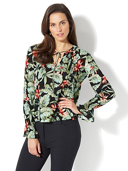 Pleated Peasant Blouse - Floral Print - Tall - New York & Company