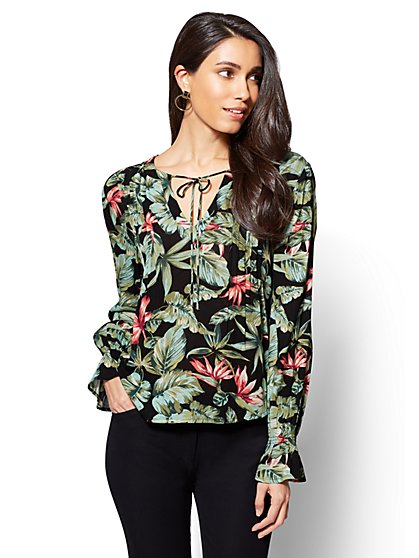 Pleated Peasant Blouse - Floral Print - New York & Company