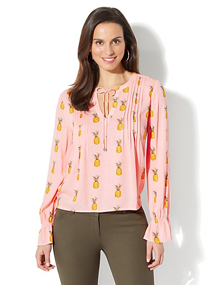 Pleated Peasant Blouse - Pineapple Print - New York & Company