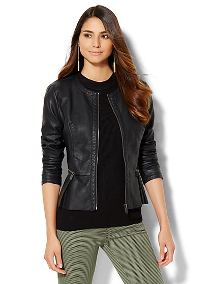 Pleated Peplum Faux-Leather Jacket  - New York & Company