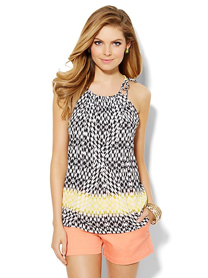 Pleated Print Halter Top  - New York & Company
