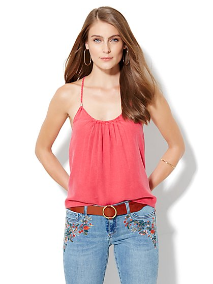 Pleated Racerback Camisole Top - Coral  - New York & Company