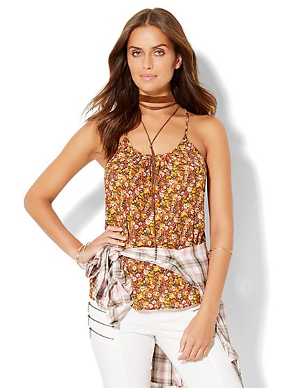 Pleated Racerback Camisole Top - Floral  - New York & Company