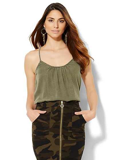 Pleated Racerback Camisole Top - Khaki Green  - New York & Company
