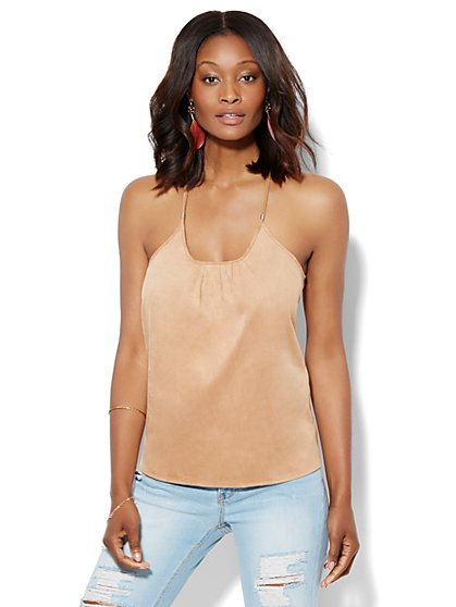 Pleated Racerback Suede Camisole Top - Camel  - New York & Company