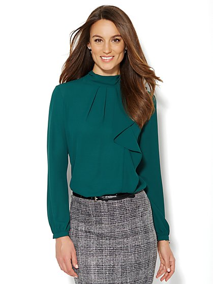 Pleated Ruffle Blouse - Petite  - New York & Company