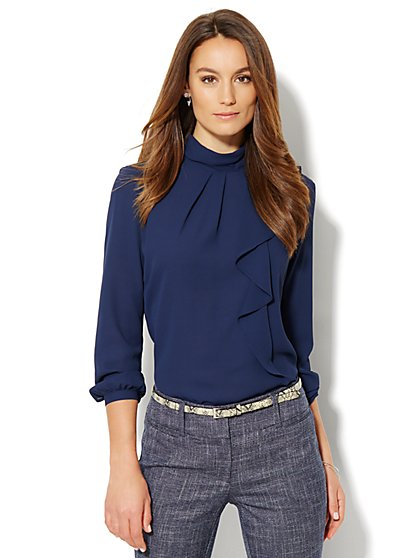 Pleated Ruffle Blouse - New York & Company