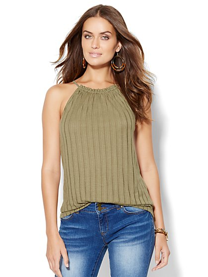 Pleated Scoopneck Halter Top  - New York & Company