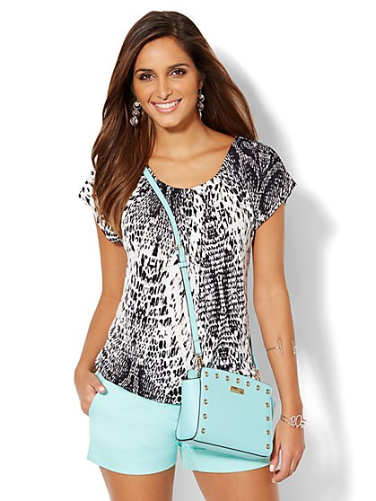 Pleated Scoopneck Top - Animal Print  - New York & Company