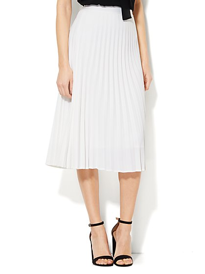 Pleated Side-Slit Skirt  - New York & Company