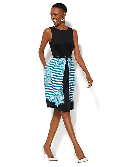 Pleated Skirt Scuba Dress - New York & Company