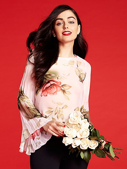 Pleated Sleeve Chiffon Blouse - Floral  - New York & Company