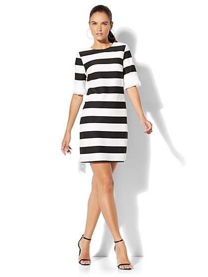 Pleated-Sleeve Sheath Dress - Black & White Stripe - New York & Company