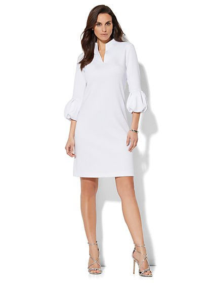 Pleated-Sleeve Sheath Dress - New York & Company