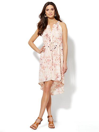 Pleated Sleeveless Dress - Botanical Print  - New York & Company