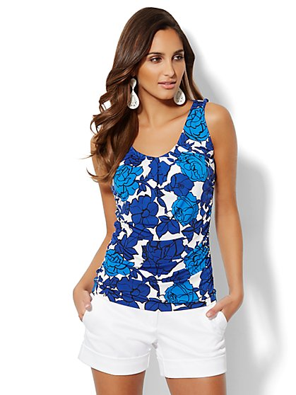 Pleated Sleeveless Top - Floral   - New York & Company