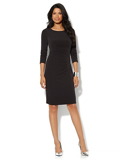 Pleated Stretch Dress - Solid - New York & Company