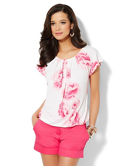 Pleated Tee - Floral Print  - New York & Company
