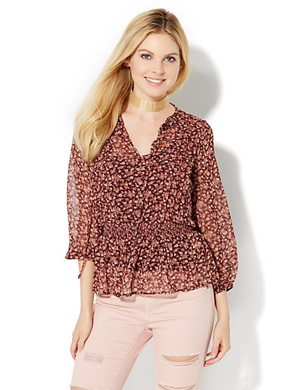 Pleated Tie-Front Blouse - Floral  - New York & Company