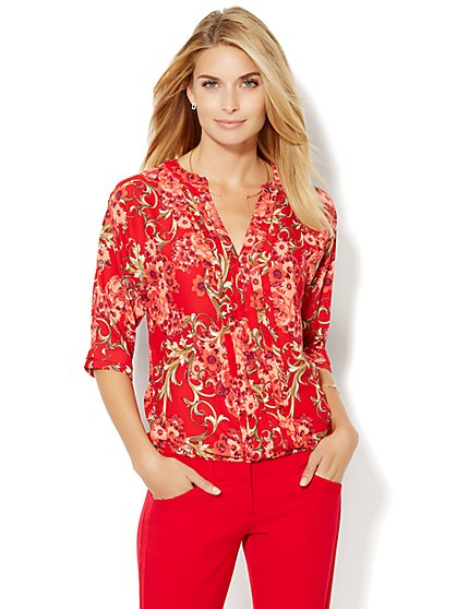 Pleated V-Neck Blouse - Print - New York & Company