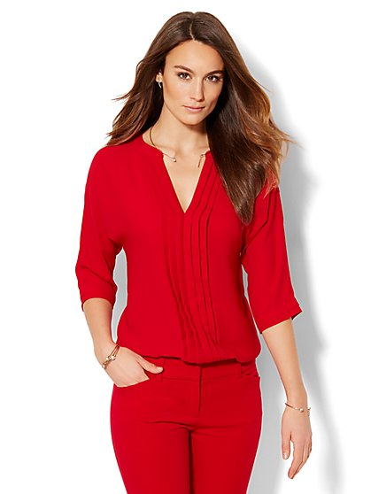 Pleated V-Neck Blouse - Solid - New York & Company