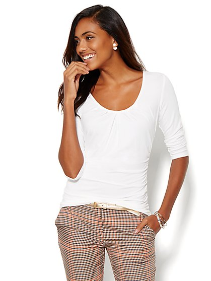 Pleated V-Neck Top - Paper White  - New York & Company