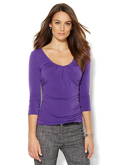 Pleated V-Neck Top - New York & Company