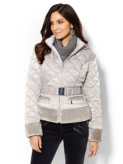 Plush-Trim Quilted Puffer Jacket  - New York & Company