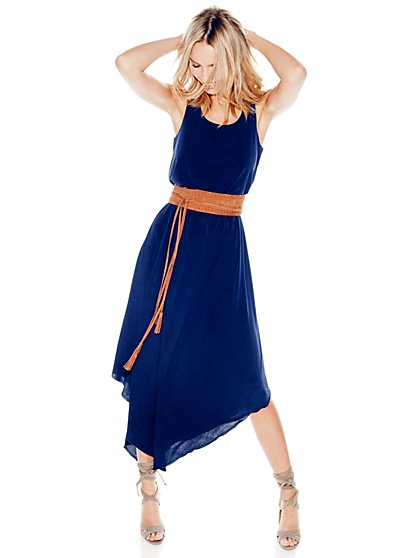 Pointed-Hem Maxi Dress - Solid  - New York & Company