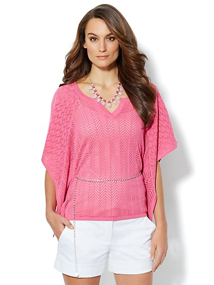 Pointelle Caftan Sweater