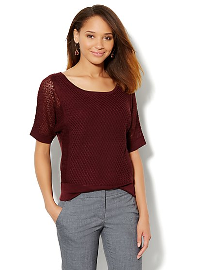 Pointelle Dolman-Sleeve Sweater