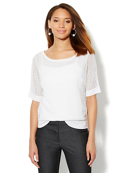 Pointelle Dolman-Sleeve Sweater - New York & Company