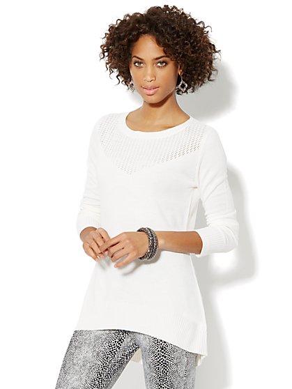 Pointelle Elliptical Tunic Sweater  - New York & Company